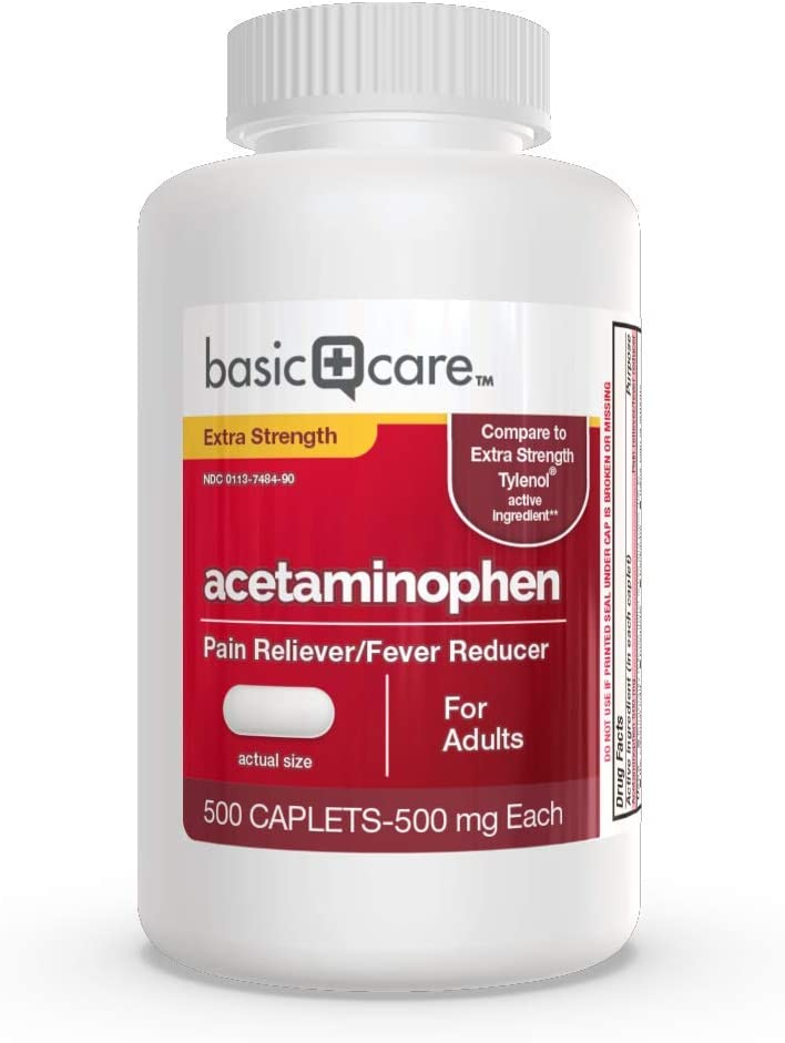 Basic Care Extra Strength Acetaminophen Caplets500 Count