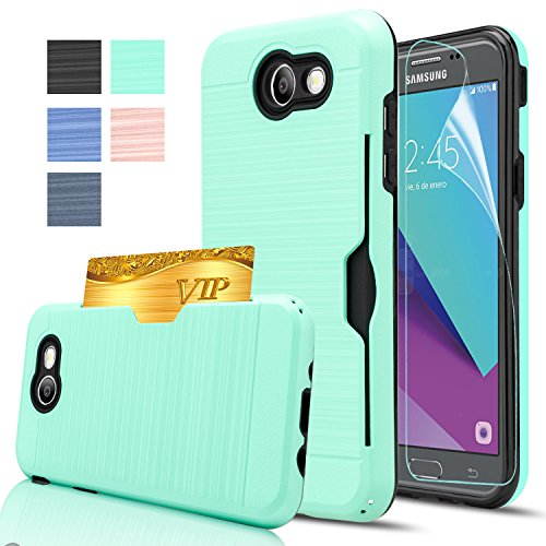 Price comparison product image Galaxy J3 Emerge Wallet Case,Galaxy Amp prime 2/J3 2017/J3 Prime/Express Prime 2 Case With HD Screen Protector,AnoKe[Card Slots Holder]Plastic TPU Hybrid Case For Samsung Galaxy J3 Emerge KC2 Mint