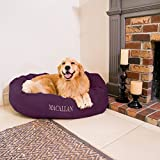 Personalized Majestic Pet Bagel Dog Bed - Machine Washable - Soft Comfortable Sleeping Mat - Durable Bedding Supportive Cushion Custom Embroidered - available replacement covers - Small Eggplant