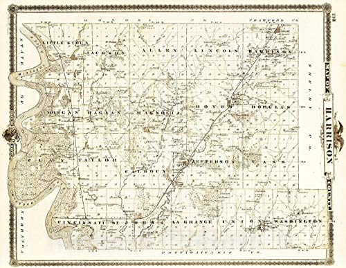 Historic Map | 1875 Map of Harrison County, State of Iowa. | Vintage Wall Art | 57in x 44in