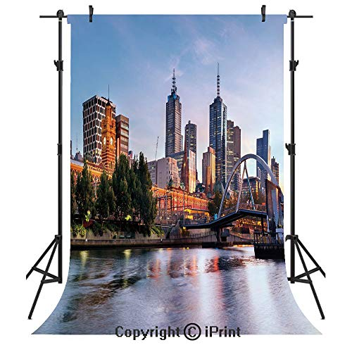 City Photography Backdrops,Early Morning Scenery in Melbourne Australia Famous Yarra River Scenic,Birthday Party Seamless Photo Studio Booth Background Banner 5x7ft,Orange Green Pale ()