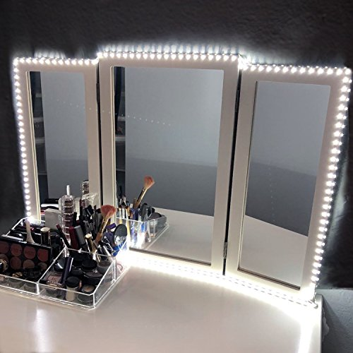LED Vanity Mirror Lights Kit for Makeup Dressing Table Vanity Set 13ft Flexible LED Light Strip 6000K Daylight White with Dimmer and Power Supply, DIY Hollywood Style Mirror, Mirror not Included (With Mirror Lights Desk And)