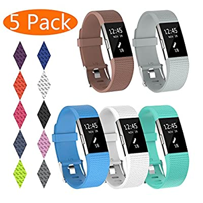 KingAcc Compatible Fitbit Charge 2 Bands, Soft Silicone Replacement Band for Fitbit Charge 2, with Metal Buckle Fitness Wristband Sport Strap Women Men Large Small Black, White, Gray, Blue, Pink