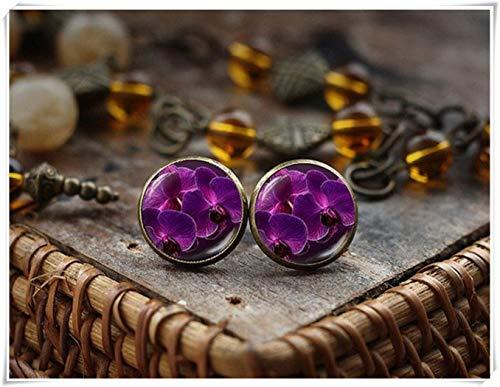 hong ben xie chang Violet Stud Earrings,Orchid Flower Earrings,Nature Earrings,Dome Glass Jewelry, Handmade -