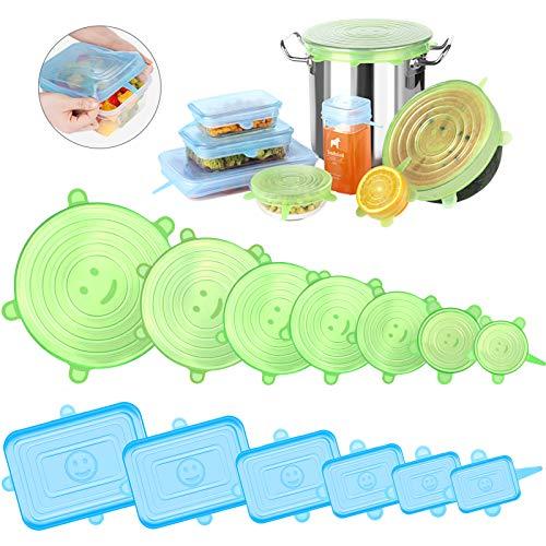 Newdora Tapas de Silicona Elasticas Reutilizables, 13 Piezas (7 Redondas y 6 Cuadradas) Tapas Silicona Ajustables Cocina, para Lavavajillas, Microondas, Horno o Refrigerador, Sin BPA