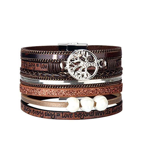 Jenia Brown Tree of life Leather Cuff Bracelet - Personality Engraved Braided Wrap Bangle with Pearl - Handmade Jewelry for Women, Teens Girl, Boy, Men Birthday Gift