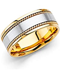 14k Two 2 Tone White and Yellow Gold Polished Satin 8MM Rope Design Comfort Fit Wedding Band Ring