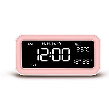 Favourall Reloj Despertador Digital, Pantalla Grande, Gran Volumen, Reloj Despertador con Espejo para el Dormitorio, Junto a la Cama, Escritorio: Amazon.es: ...