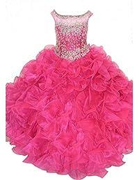 WZY Little Girls Ruffled Kids Long Ball Gowns Beading Girls Pageant Dresses 6 US Pink