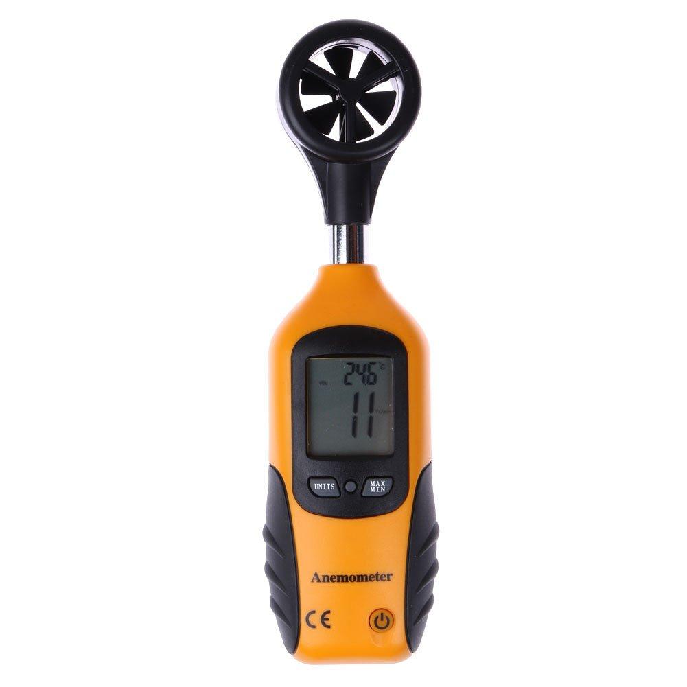 amazingdeal365 Digital Mini LCD Medidor de velocidad del viento medidor de anemómetro y termómetro para temperatura: Amazon.es: Jardín