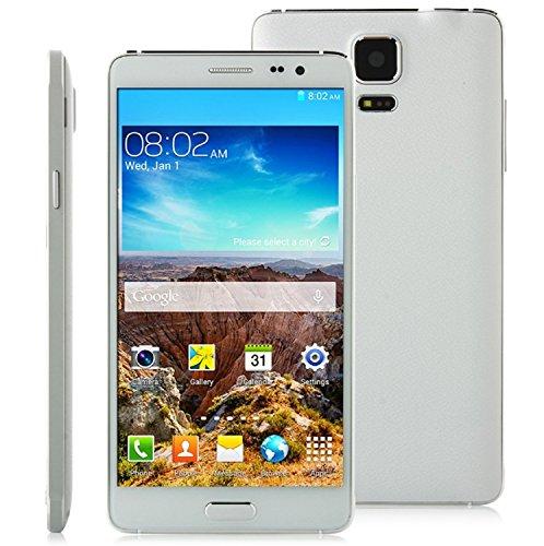 Star Note 3 N9000 5,7 Zoll (14,5 cm) 1280 x 720 IPS (16:9) HD Smartphone Handy - Dual SIM Karte (Unlocked Ohne Vertrag) - MTK6582 1.3GHz ARM Quad Core - Android 4.4.2 KitKat - OTG 3G GPS WLAN Bluetooth - 1GB RAM + 8GB ROM - 13MP + 5MP Kamera (Weiß)