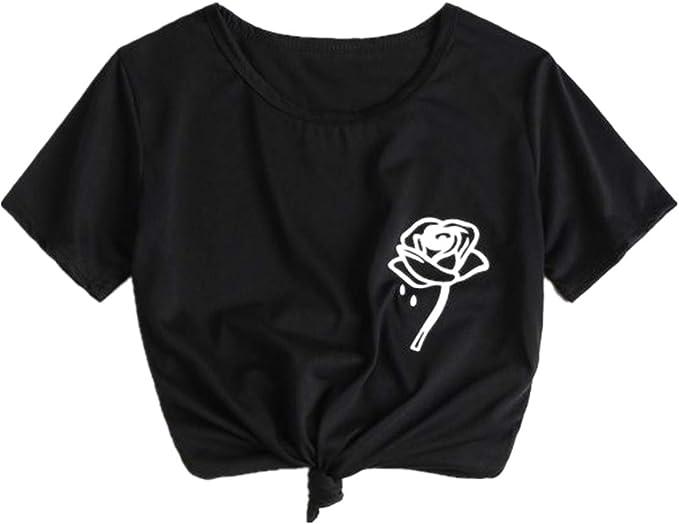 Camiseta de Manga Corta para Mujer con Estampado de Rosas y ...