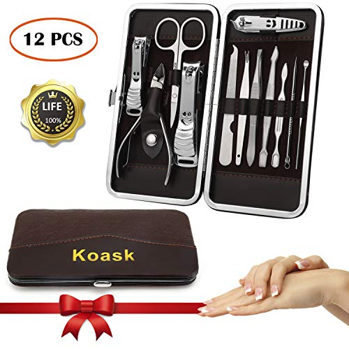 Nail Clippers, Manicure Set, Nail Clipper Set, Nail Grooming Set Travel Nail Clippers Kit And Women Nail Clippers Men Nail Nlippers Fingernail Clippers Toe Nail Clippers 12 in 1 Nail Clippers by Koask