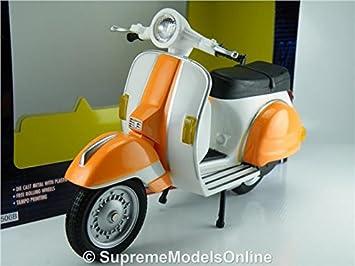 Vespa Scooter Model Bike 1 12 Scale Orange White Colour Scheme