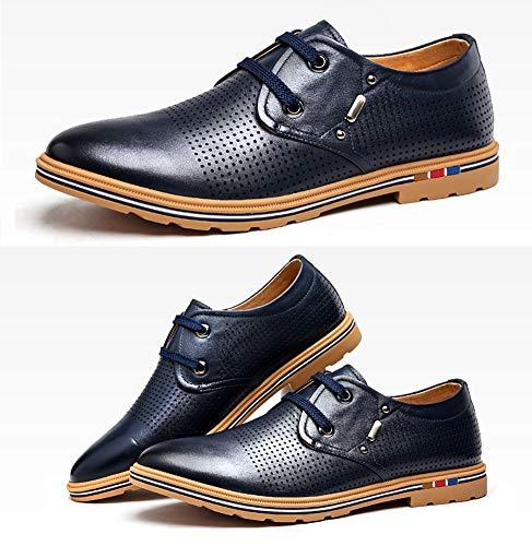 LXLA 9 dimensioni UK Casual 5 8 Colore 5 Da Mocassini Stringate Scarpe In Comode Blu Pelle Uomo Uomo Scarpe US Cava Blu Da ra1Zrq