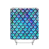 Fish Scale Shower Curtain Fish Scales Purple Blue Fabric Shower Curtain, 60 x 72-Inch