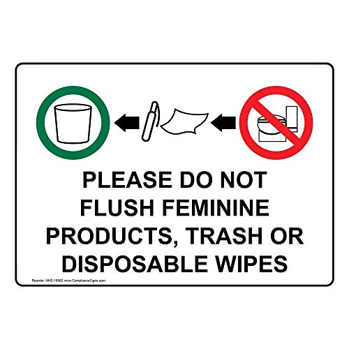 ComplianceSigns Plastic Restroom Etiquette Sign, 7 x 5 in. with English Text, White from ComplianceSigns