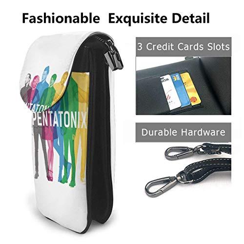 HYJUK Mobiltelefon Crossbody Väska Pentatonix Liten Crossbody Mobiltelefon Väska PU Mini Messenger Axelväska Plånbok för Kvinnor
