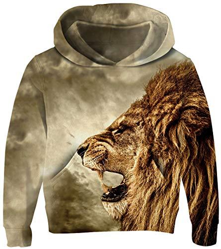 - UNICOMIDEA Children Hooded Pullover Sweater Trendy Animal Hoodies Lion Patterns Sweatshirt Party Wear Sport Wear for Kid 6-7T