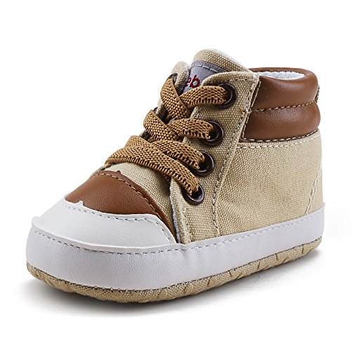 Delebao Infant Toddler Baby Lace up Soft Sole High-top Suede Warm Sneakers Snow Boots (12-18 Months, Coffee) by Delebao