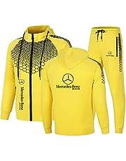 Heren Sportkleding Pak MERCEDES-BENZ Logo Hooded Jacket En Sportbroek, Outdoor Casual Zip Cardigan Trainingspak Jogging Pak Mode