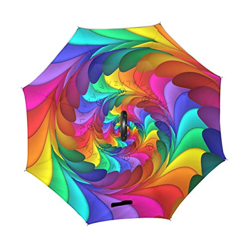(XiangHeFu Double Layer Inverted Reverse Umbrellas Abstract Rainbow Spiral Flower Colorful Art Folding Windproof UV Protection Big Straight for Car with C-Shaped Handle)