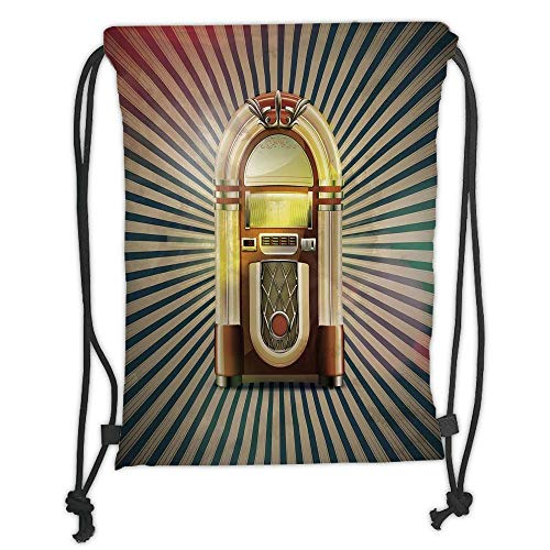 Jukebox,Retro Vintage 50s Pin Up Inspired Striped Backdrop Old Music Box,Brown Beige and Petrol Green Soft Satin,5 Liter Capacity,Adjustable String Closur