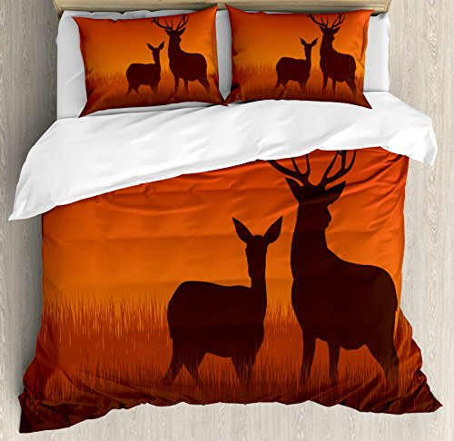 Ambesonne Hunting Duvet Cover Set Queen Size, Silhouette Illustration of a Deer and Doe on Meadow Animals Autumn Season Skyline, Decorative 3 Piece Bedding Set with 2 Pillow Shams, Scarlet Brown