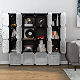 LANGRIA 16-Cube DIY Shoe Rack, Storage Drawer Unit Multi Use Modular Organizer Plastic Cabinet with Doors, Black and White Curly Pattern