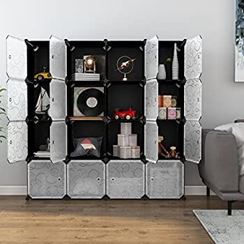 LANGRIA 16 Cube DIY Shoe Rack, Storage Drawer Unit Multi Use Modular  Organizer Plastic Cabinet With Doors, Black And White Curly Pattern