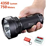 JETBeam T6 4350 Lumens 2016 Edition Brightest Flashlight, 4 Cree XPL LED, Military Grade 18650 Portable Searchlight with 750m Super Long Beam Distance, 7 Modes with Strobe SOS and Beacon Signal, Waterproof IPX-8