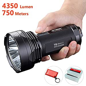 JETBeam T6 4350 Lumens 2016 Edition Brightest Flashlight, 4 Cree XPL LED, 750m Super Long Beam Distance, Waterproof Military Grade 18650 Portable Searchlight, 7 Modes with Strobe SOS, Beacon Signal