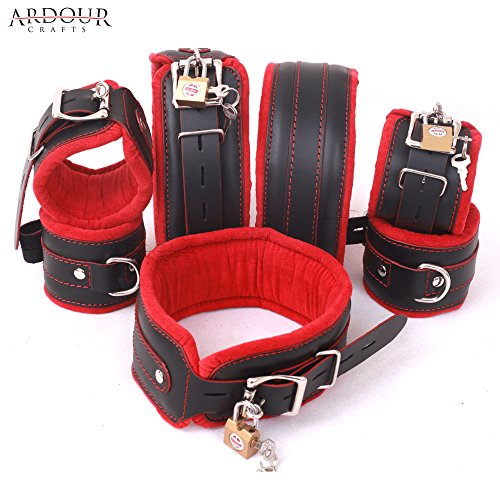 Natural Cow Hide Leather Wrist, Ankle & Thigh Cuffs and Neck Collar Set 7 Pieces Padded Cuffs Real & Authentic Leather Red & (Padded Cuffs)