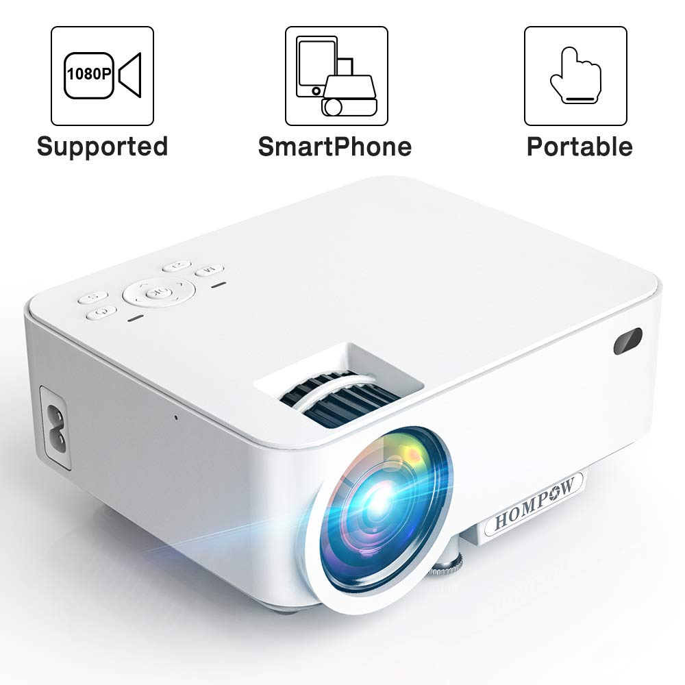 Mini Projector - 2400Lux Hompow Smartphone Portable Video Projector 1080P Supported 176'' Display, 50,000 Hours Led, Compatible with TV Stick/HDMI/VGA/USB/TV Box/Laptop/DVD/PS4 for Home Entertainment by Hompow (Image #1)
