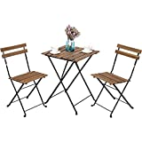 Solid Wood Garden Furniture Leisure Zone Outdoor Folding Bistro Set 3 Piece Patio Table and Chairs Set, Metal and Solid Wood (Brown)