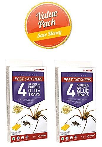 JT Eaton 844 Pest Catchers Large Spider and Cricket Size Attractant Scented Glue Trap, 8 Traps -  Eaton J T