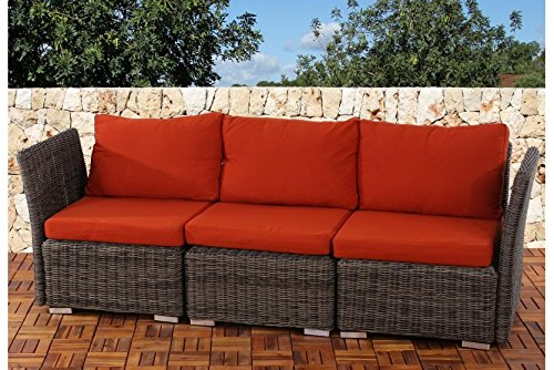 gartensofa naturgrau kissen bordeaux dreisitzer polyrattan couch gartenm bel g nstig kaufen. Black Bedroom Furniture Sets. Home Design Ideas
