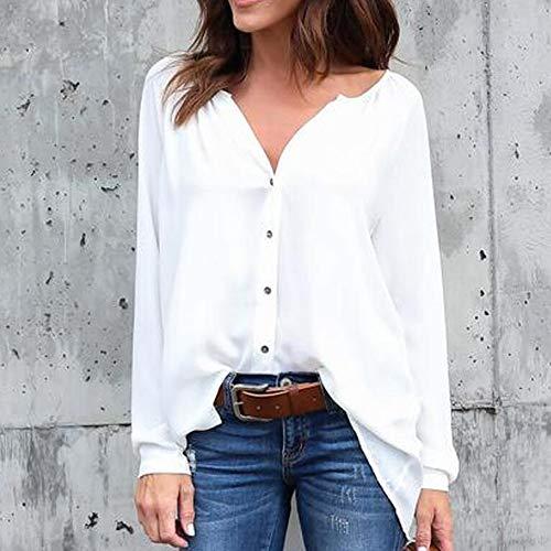 Mousseline Fixation Longues Manches BaconiXfF G Button WHITE Tops Chemisier en Courroie de Womens dcontract Solide nqFY81wF