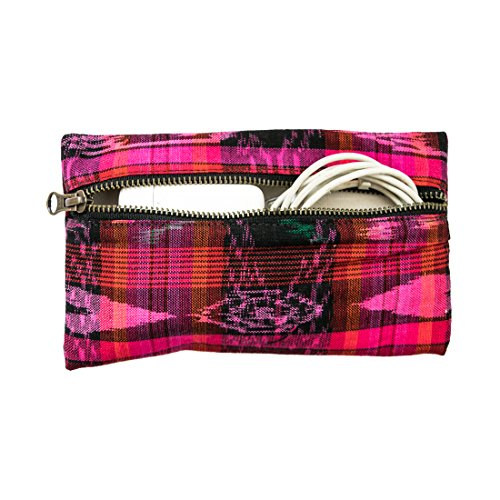 Mayan All Purpose Utility & Charger Case Handmade by Hide & Drink :: Tropical Fuchsia