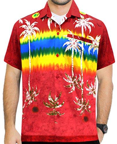La Leela* Bouton de Palmier des Hommes de Chemise Hawaïenne Bas à Manches Courtes de Poche Rouge Roug