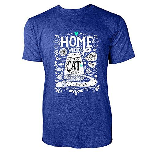 SINUS ART® Home Where A Cat Is Herren T-Shirts in Vintage Blau Cooles Fun Shirt mit tollen Aufdruck