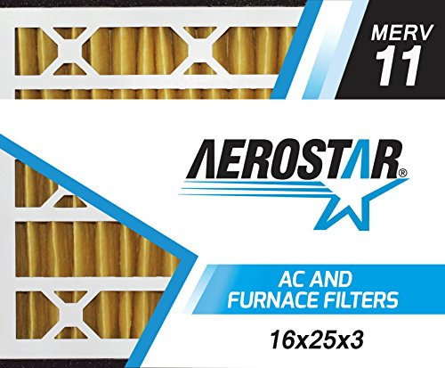 Aerostar 16x25x3 MERV 11, Pleated Air Filter, 16x25x3, Box of 3, Made in the USA