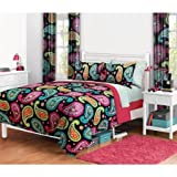 8pc Girl Fun Bright Pink Orange Aqua Teal Paisley Twin Comforter & Curtain Set (8pc Bedroom in a Bag)