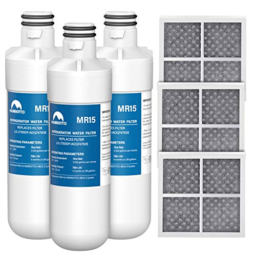 MARRIOTTO LT1000P Refrigerator Water Filter, Compatible with LG LT1000P, LT1000PC, MDJ64844601, ADQ747935, Kenmore 46-9980, and LG LT120F, ADQ73214404 Air filter Combo, 3 Pack
