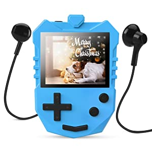 AGPTEK MP3 Player for Kids, K1 Portable 8GB Children Music Player with Built-in Speaker, FM Radio, Voice Recorder, Expandable Up to 128GB, Blue(Upgraded Version)
