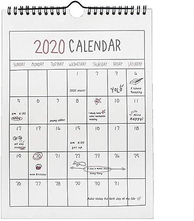 bearivt Calendario Pared 2019 2020 con Diseño de Doble Bobina, 306 ° pasando la página sin Problemas: Amazon.es: Hogar
