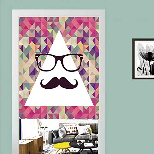 SCOCICI 3D Printed Magic Stickers Door Curtain,Geometric,Hipster Mustache and Glasses White Triangle Mosaic Background Funny Art Print,Multicolor,Privacy Protect for Kitchen,Bathroom,Bedroom(1 Panel) ()