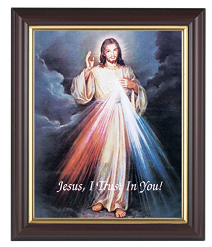 Divine Mercy in a Fine Detail Channel Grooved Dark Walnut Frame with Gold Inside Lip Italian Lithograph Under Glass.