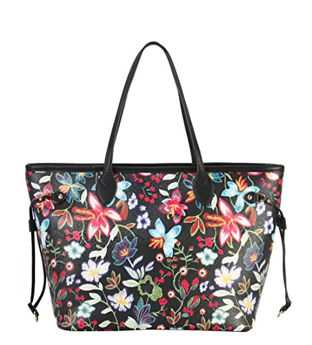 Large Floral Pattern - Diophy PU Leather Floral Embroidered Printed Pattern Large Shopping Tote OC-6524