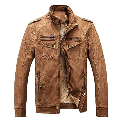 Sharemen Men's Winter Camouflage Casual Denim Jacket Thickening Coat (XL,Brown)